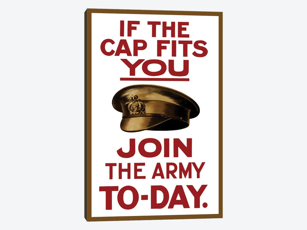Vintage WWI Poster Of A British Army Hat by John Parrot 1-piece Canvas Wall Art