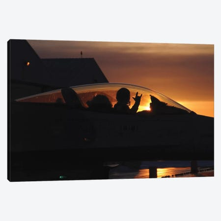 An F-16 Fighting Falcon Fighter Pilot Gives The Mission Accomplished Sign While Taxiing Canvas Print #TRK733} by Stocktrek Images Art Print