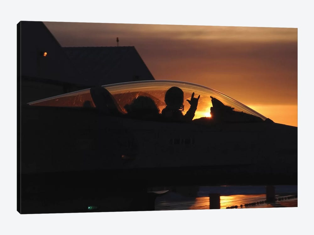 An F-16 Fighting Falcon Fighter Pilot Gives The Mission Accomplished Sign While Taxiing by Stocktrek Images 1-piece Canvas Artwork