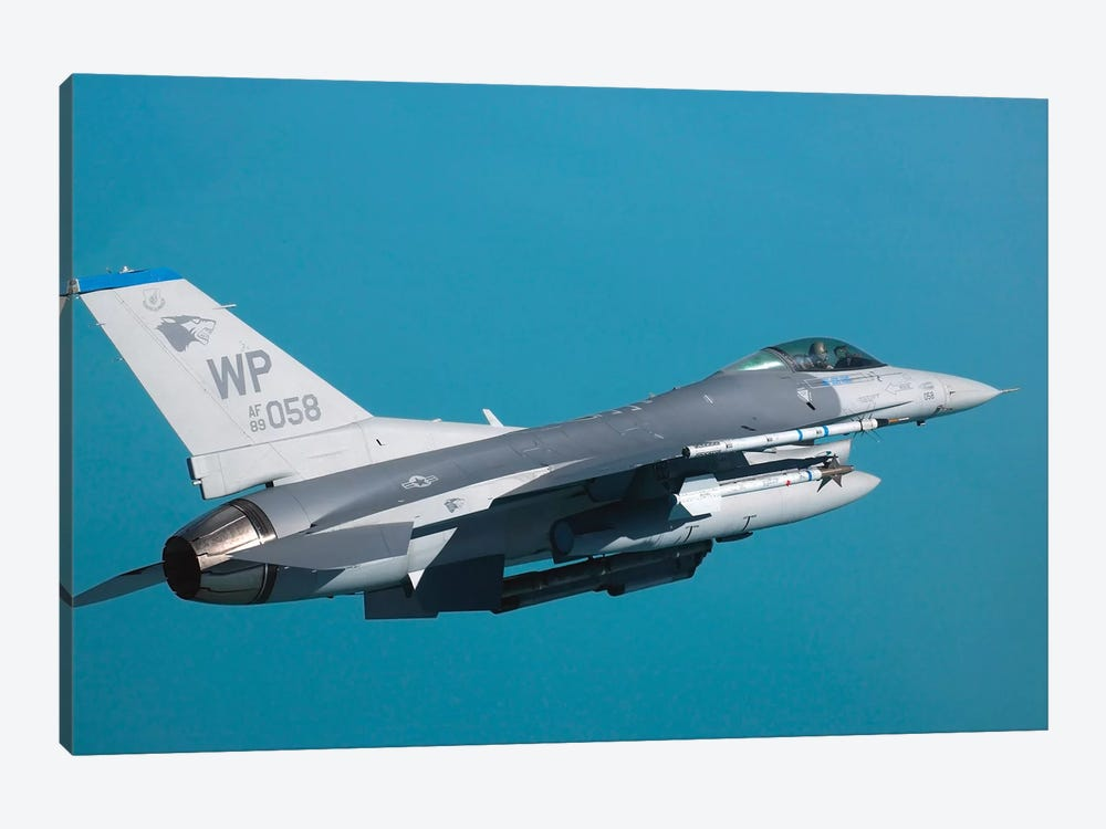 An F-16 Fighting Falcon In Flight by Stocktrek Images 1-piece Canvas Art