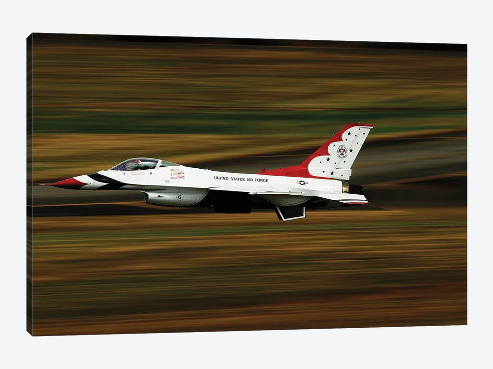 An F-16 Thunderbird Of The US Air Force Flying At High Speed 1-piece Canvas Wall Art