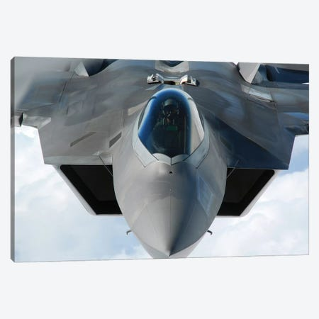 An F-22 Raptor Prepares For Refueling Canvas Print #TRK739} by Stocktrek Images Art Print