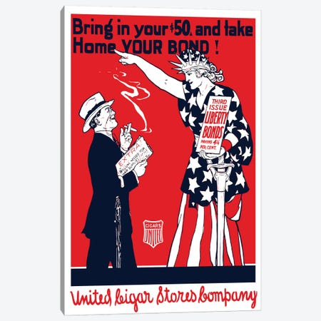 Vintage WWI Poster Of A Man Smoking A Cigar As Lady Liberty Points At Him Canvas Print #TRK73} by John Parrot Canvas Print