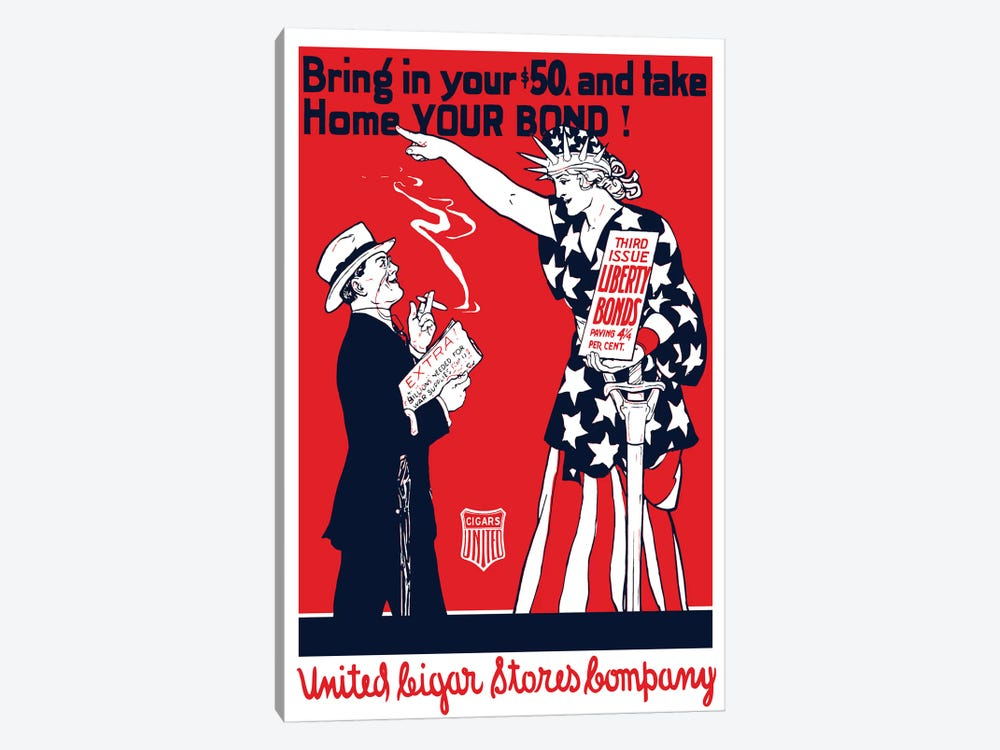 Vintage WWI Poster Of A Man Smoking A Cigar As Lady Liberty Points At Him by John Parrot 1-piece Art Print