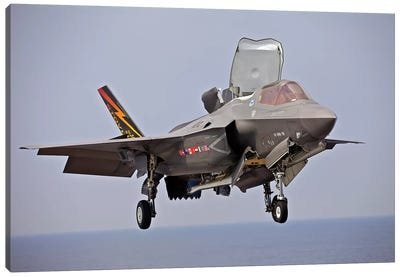 An F-35 Lightning II Prepares For Landing Canvas Art Print