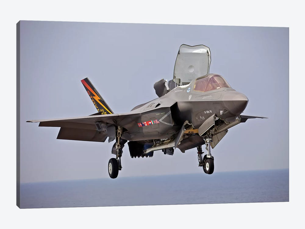 An F-35 Lightning II Prepares For Landing by Stocktrek Images 1-piece Canvas Artwork