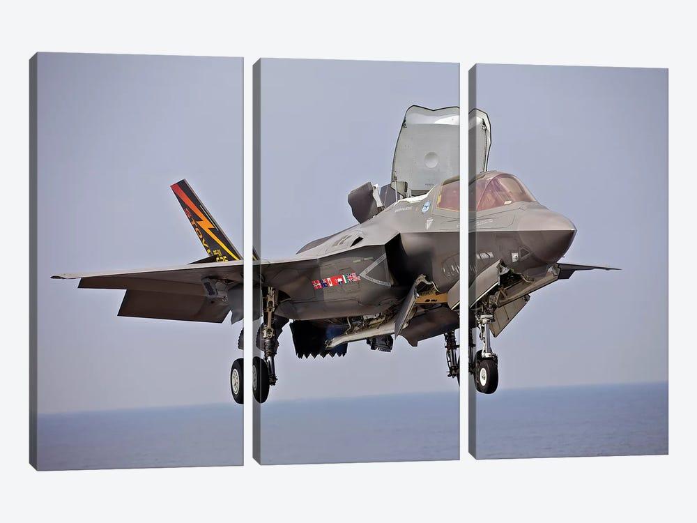An F-35 Lightning II Prepares For Landing by Stocktrek Images 3-piece Canvas Art