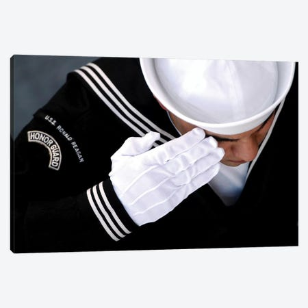 An Honor Guard Member Renders A Salute During A Burial At Sea Ceremony Canvas Print #TRK743} by Stocktrek Images Canvas Wall Art
