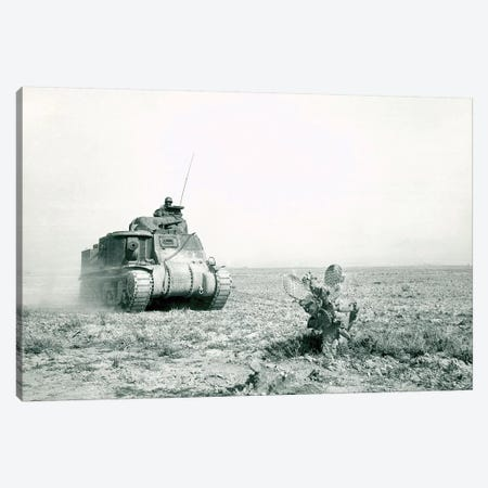 An M3 Grant Tank On The Move During The Battle Of Kasserine Pass, Tunisia Canvas Print #TRK749} by Stocktrek Images Canvas Wall Art