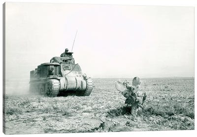 An M3 Grant Tank On The Move During The Battle Of Kasserine Pass, Tunisia Canvas Art Print