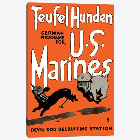 Vintage WWI Poster Of A Marine Corps Bulldog Chasing A German Dachshund Canvas Print #TRK74} by John Parrot Canvas Art