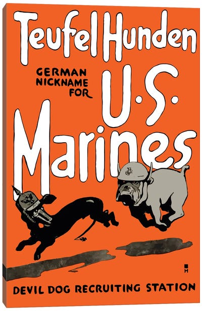 Vintage WWI Poster Of A Marine Corps Bulldog Chasing A German Dachshund Canvas Art Print