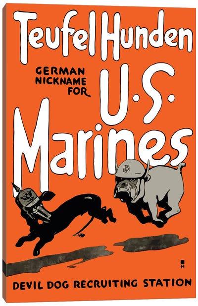 Vintage WWI Poster Of A Marine Corps Bulldog Chasing A German Dachshund Canvas Art Print