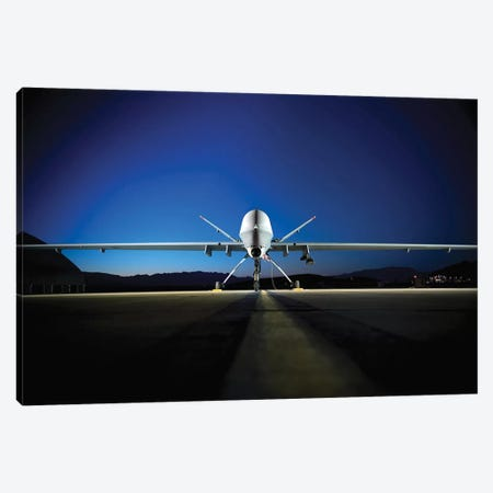 An MQ-9 Reaper Sits On The Flight line Canvas Print #TRK756} by Stocktrek Images Canvas Wall Art