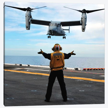 An MV-22 Osprey Tiltrotor Aircraft Approaches The Flight Deck Canvas Print #TRK757} by Stocktrek Images Canvas Artwork