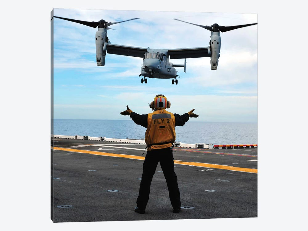 An MV-22 Osprey Tiltrotor Aircraft Approaches The Flight Deck by Stocktrek Images 1-piece Canvas Wall Art