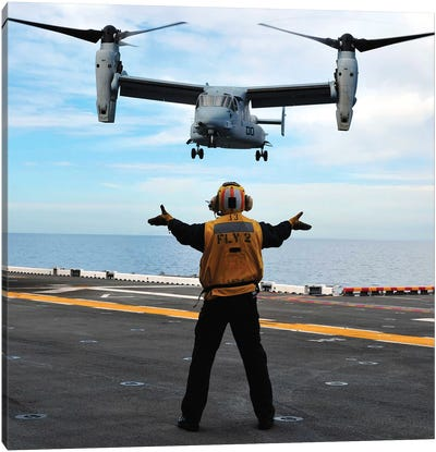 An MV-22 Osprey Tiltrotor Aircraft Approaches The Flight Deck Canvas Art Print