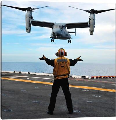 An MV-22 Osprey Tiltrotor Aircraft Approaches The Flight Deck Canvas Art Print