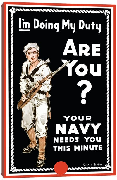 Vintage WWI Poster Of A Sailor Holding A Bayonet Fitted Rifle Canvas Art Print