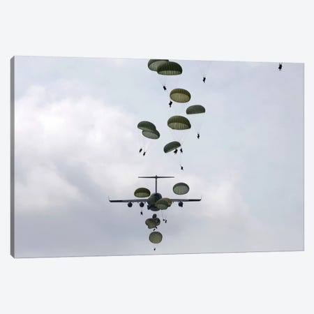 Army Soldiers Jump Out Of A C-17 Globemaster III Canvas Print #TRK760} by Stocktrek Images Canvas Artwork