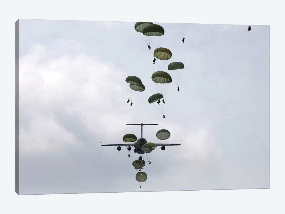 Army Soldiers Jump Out Of A C-17 Globemaster III by Stocktrek Images 1-piece Canvas Art