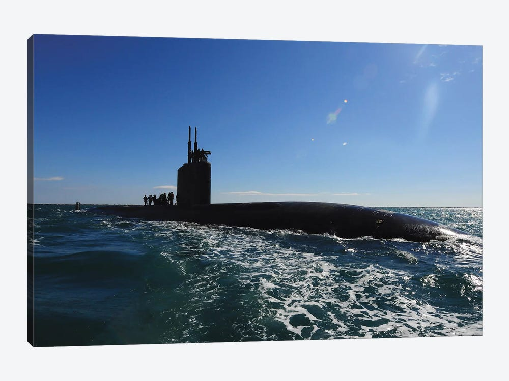 Attack Submarine USS Scranton Pulls Into Augusta Bay by Stocktrek Images 1-piece Canvas Artwork