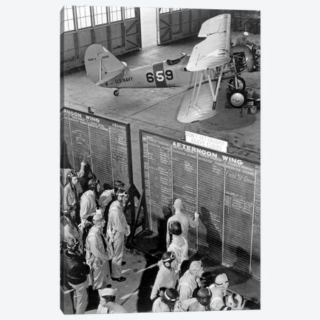 Aviation Cadets Check Flight Boards For Last Minute Instructions Canvas Print #TRK767} by Stocktrek Images Art Print