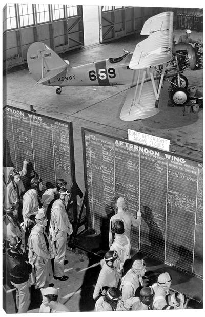 Aviation Cadets Check Flight Boards For Last Minute Instructions Canvas Art Print