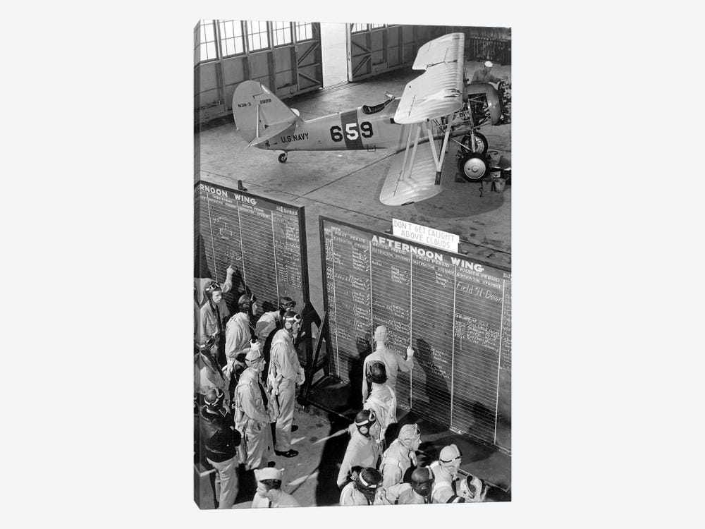 Aviation Cadets Check Flight Boards For Last Minute Instructions by Stocktrek Images 1-piece Canvas Art Print