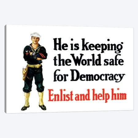 Vintage WWI Poster Of A Sailor Standing With His Arms Crossed Canvas Print #TRK76} by John Parrot Canvas Wall Art