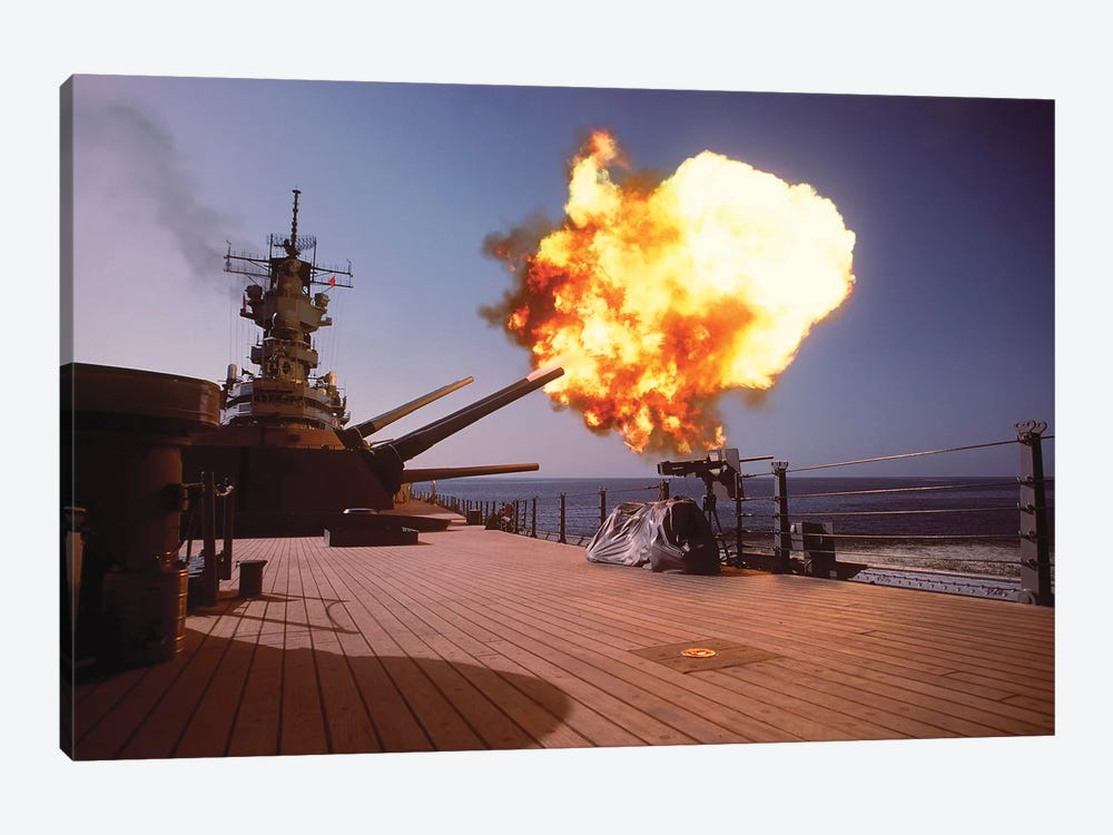 Battleship USS Wisconsin Fires One Of The Mark 7 16-Inch/50-Caliber Guns 1-piece Canvas Print
