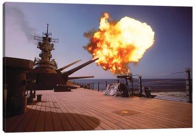 Battleship USS Wisconsin Fires One Of The Mark 7 16-Inch/50-Caliber Guns Canvas Art Print