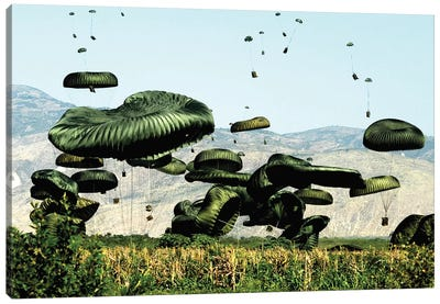 Bundles Of Food And Water Are Air Delivered To The Outlying Area Of Port-Au-Prince, Haiti Canvas Art Print