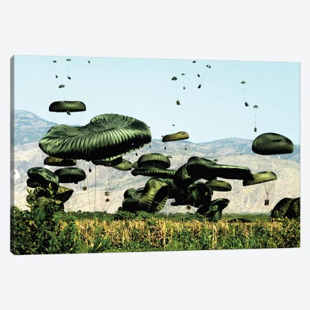 Bundles Of Food And Water Are Air Delivered To The Outlying Area Of Port-Au-Prince, Haiti Canvas Print #TRK775} by Stocktrek Images Canvas Wall Art