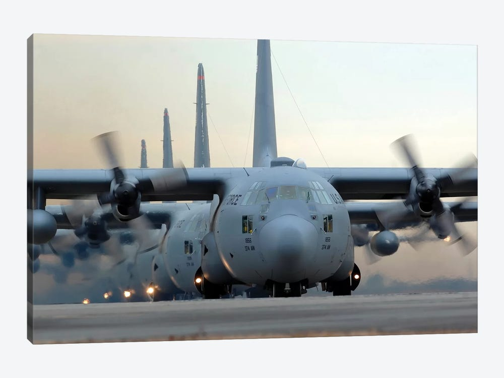 C-130 Hercules Aircraft Taxi Out For A Mission During A Six-Ship Sortie by Stocktrek Images 1-piece Canvas Art Print