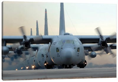 C-130 Hercules Aircraft Taxi Out For A Mission During A Six-Ship Sortie Canvas Art Print
