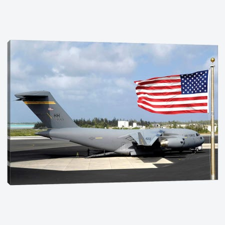 C-17 Globemaster III Sits On The Flight line At Wake Island Canvas Print #TRK777} by Stocktrek Images Canvas Artwork