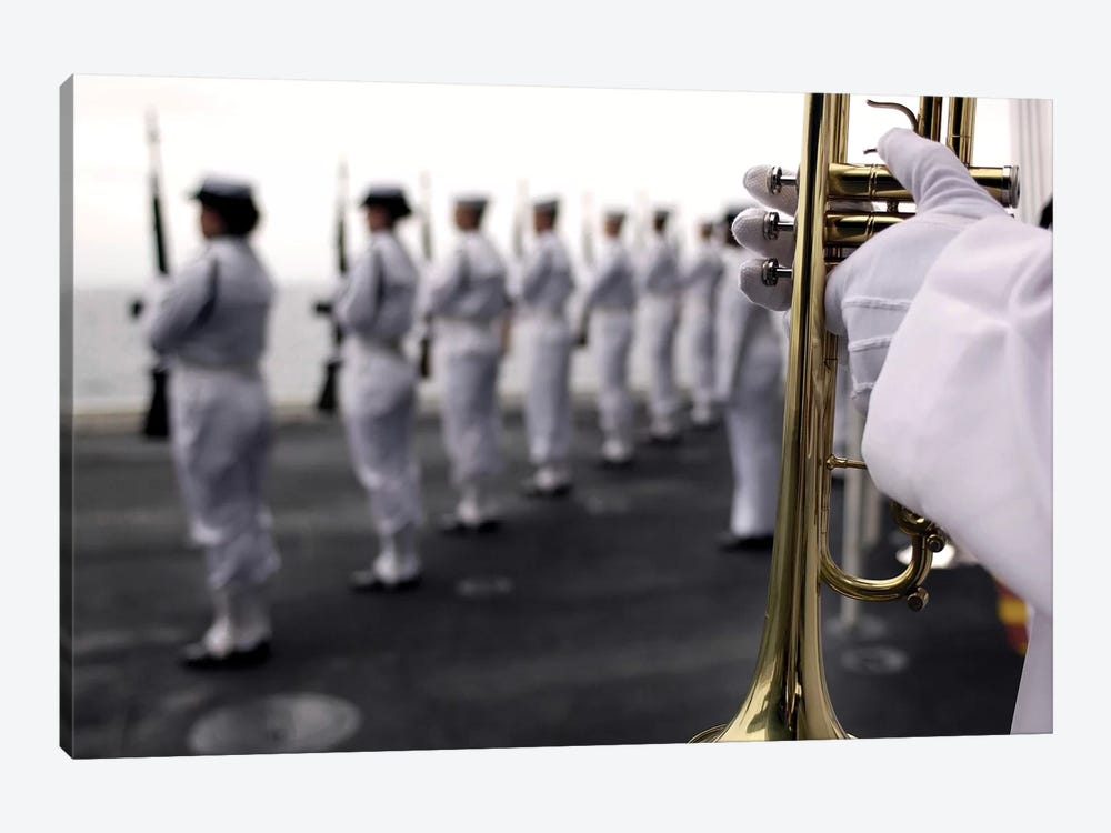 Ceremonial Honor Guard Members Stand At Port Arms During A Burial At Sea Ceremony by Stocktrek Images 1-piece Canvas Print