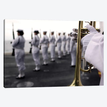 Ceremonial Honor Guard Members Stand At Port Arms During A Burial At Sea Ceremony 3-Piece Canvas #TRK778} by Stocktrek Images Canvas Print