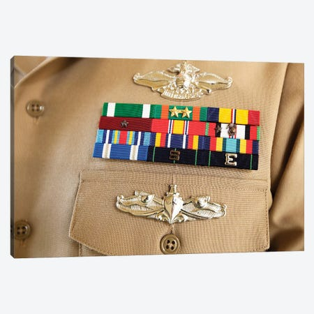 Close-Up View Of Military Decorations And Honors On The Uniform Of A Petty Officer Canvas Print #TRK784} by Stocktrek Images Art Print