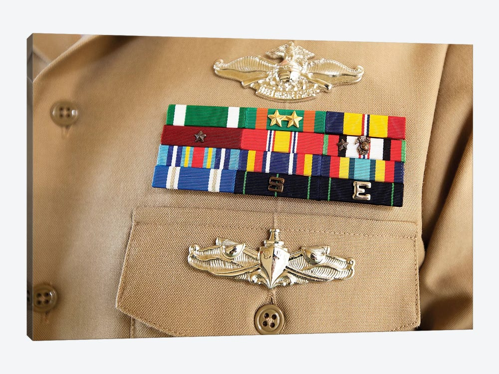 Close-Up View Of Military Decorations And Honors On The Uniform Of A Petty Officer by Stocktrek Images 1-piece Canvas Artwork