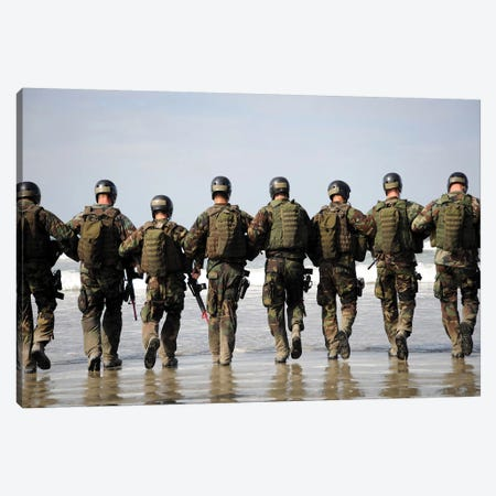 Crewman Qualification Training Students Hitting The Surf Canvas Print #TRK788} by Stocktrek Images Canvas Art