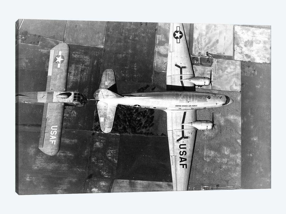 Curtiss C-46E In Flight Towing A Waco CG-15A Glider by Stocktrek Images 1-piece Canvas Art Print