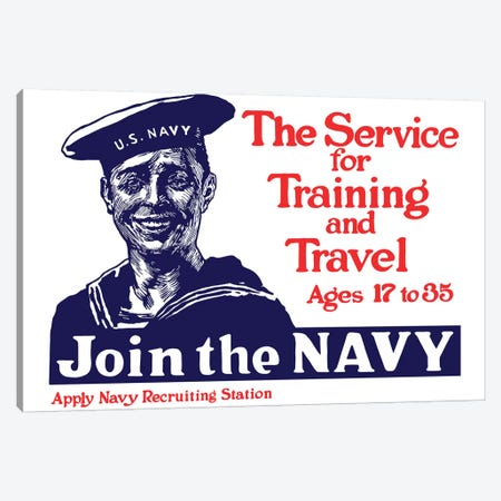 Vintage WWI Poster Of A Smiling US Sailor Canvas Print #TRK78} by John Parrot Canvas Print