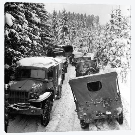 Deep Snow Banks On A Narrow Road Halt Military Vehicles In Belgium Canvas Print #TRK790} by Stocktrek Images Canvas Art Print
