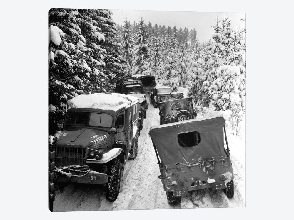 Deep Snow Banks On A Narrow Road Halt Military Vehicles In Belgium by Stocktrek Images 1-piece Art Print