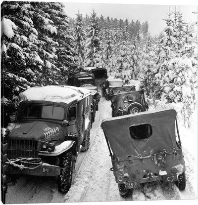 Deep Snow Banks On A Narrow Road Halt Military Vehicles In Belgium Canvas Art Print