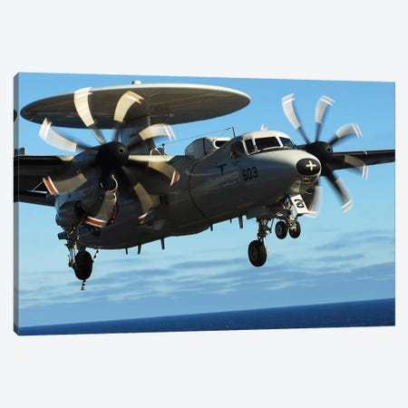 E-2C Hawkeye Approaches The Flight Deck Of USS John C. Stennis Canvas Print #TRK793} by Stocktrek Images Canvas Print