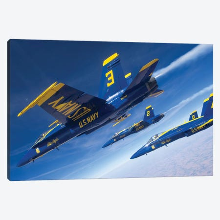 F/A-18 Hornets Of The Blue Angels Fly In Formation Over Colorado Canvas Print #TRK795} by Stocktrek Images Canvas Artwork