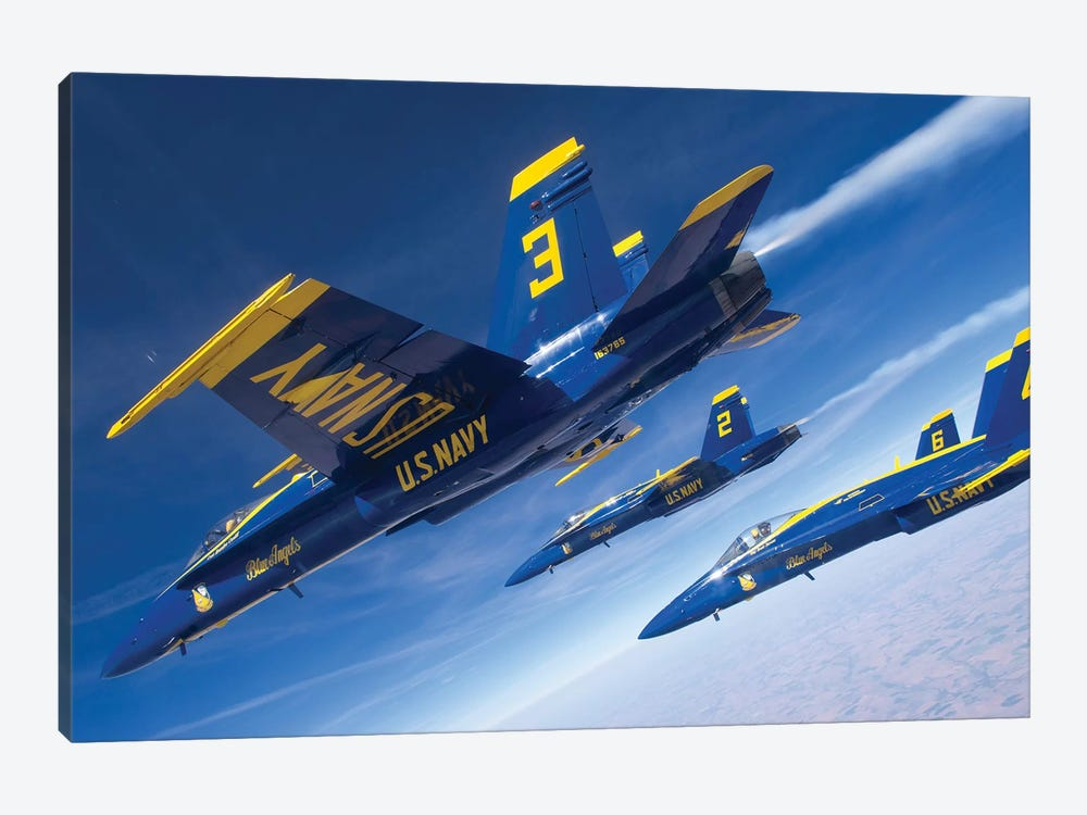 F/A-18 Hornets Of The Blue Angels Fly In Formation Over Colorado by Stocktrek Images 1-piece Canvas Wall Art